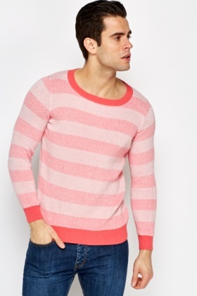 Coral Contrast Striped Jumper