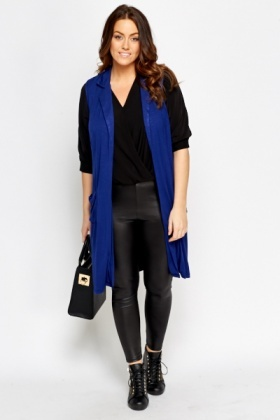 Dark Blue Sleeveless Cardigan
