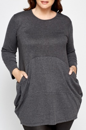 Dark Grey Pocket Side Top