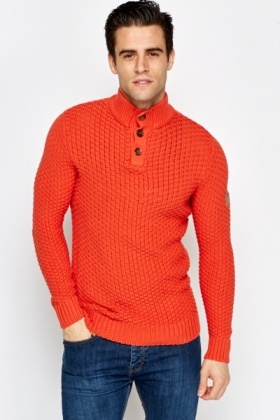 High Button Up Neck Chunky Jumper