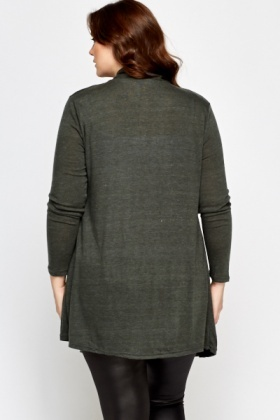 Lapel Front Forest Green Cardigan