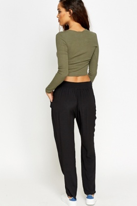Black Tapered Casual Trousers