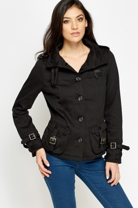 Cotton Blend High Neck Jacket