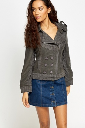 Lace Trim Contrast Jacket