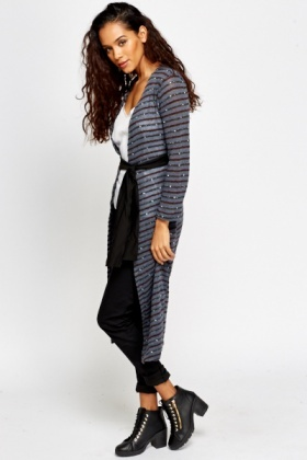 Metallic Belted Long Cardigan