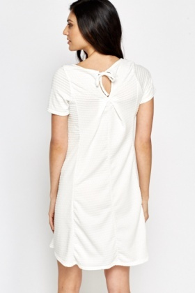 Off White Textured Swing Dress