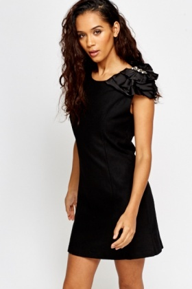 Overlay Encrusted Shoulder Shift Dress