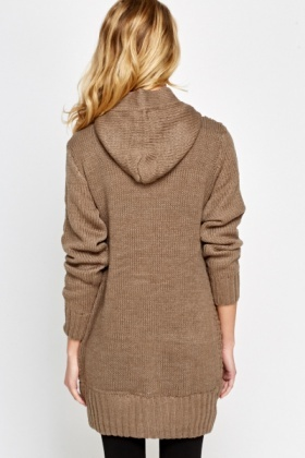 Cable Knit Light Brown Cardigan