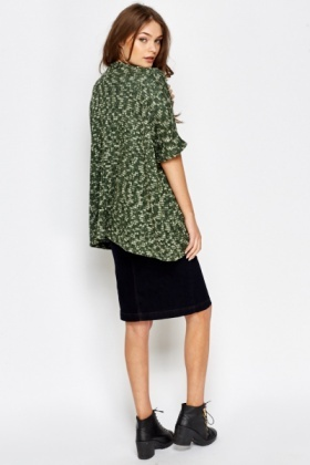 Green Open Contrast Cardigan