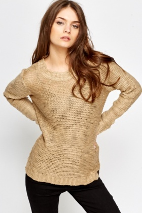 Ribbed Neck Bobble Knit Jumper