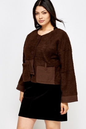 Bear Contrast Button Front Coat