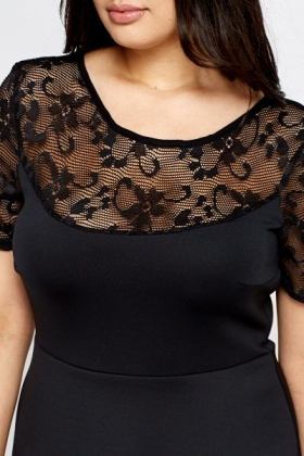 Black Lace Insert Swing Dress
