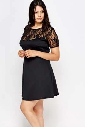 Black Lace Yoke Swing Dress