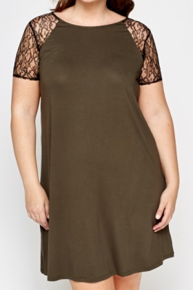 Dark Olive Lace Sleeve Dress