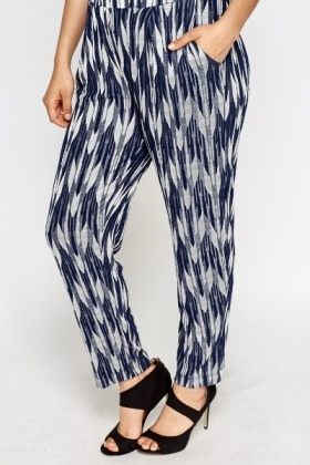 Navy Print Tapered Trousers