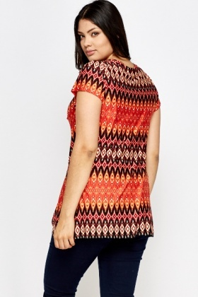 Orange Ruched Neck A-Line Top