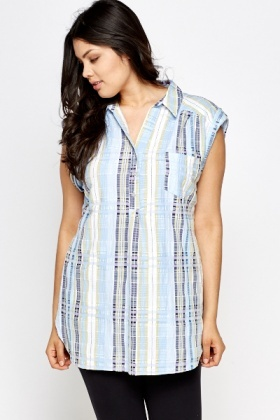 Sleeveless Blue Checked Blouse