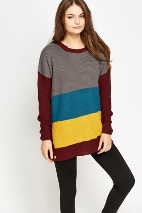 Button Detail Colour Block Jumper