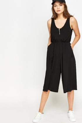 Cropped Black Jumpsuit