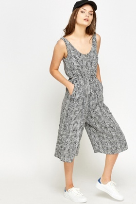 Cropped Printed Jumpsuit