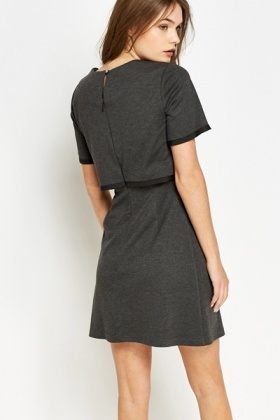 Dark Grey Contrast Trim Overlay Dress