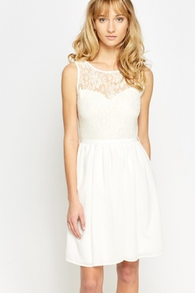 60c5d5702dc2 Lace Bodice Cream Skater Dress - Just £5