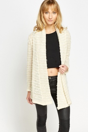 Metallic Trim Cream Cardigan