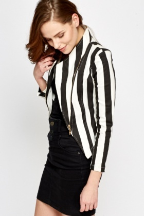 Mono Striped Asymmetric Jacket