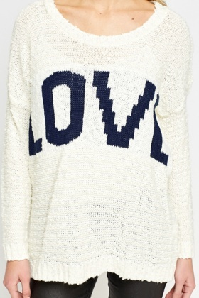 Off White Love Print Jumper