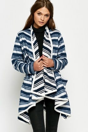 Striped Oversized Waterfall Blanket Cardigan - Just £5
