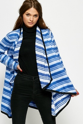 Striped Oversized Waterfall Blanket Cardigan