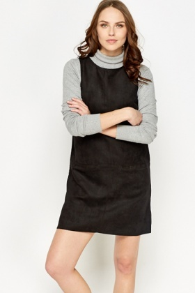 Black Suedette Pinafore