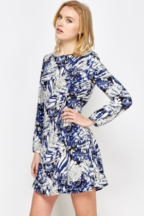 Blue Floral Print Swing Dress