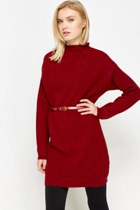 Funnel Neck Belted Jumper Dress