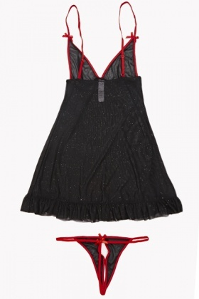 Glitter Frill Chemise And Thong Set