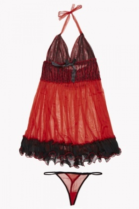 Halterneck Frill Chemise And Thong Set
