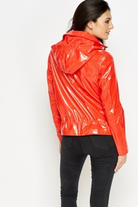 Hooded Cropped Rain Coat
