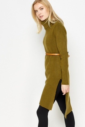 Roll Neck Green Split Hem Long Jumper