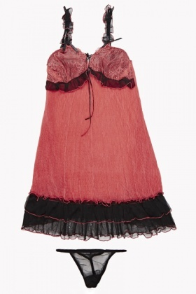 Ruffle Hem Azalea Chemise And Thong Set