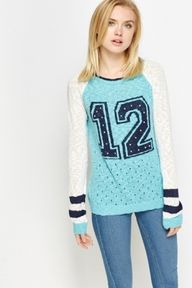 Studded Contrast Knit Jumper