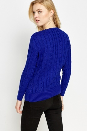 V-Neck Plait Front Jumper