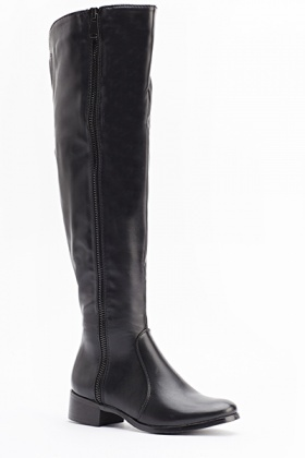 Faux Leather Contrast Side Zip High Knee Boots