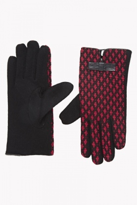 Patterned Front Gloves