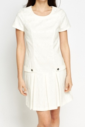 Cream Pleated Hem Dress