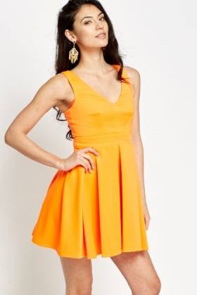 Cut Out Back Neon Skater Dress