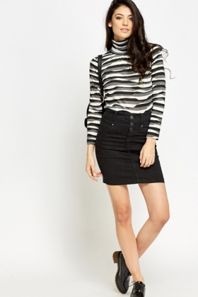 High Neck Stripy Top