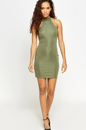 High Neck Textured Bodycon Dress