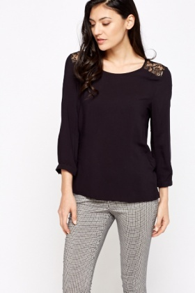 Lace Insert Black Blouse
