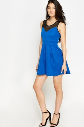 Mesh Insert Sweetheart Skater Dress