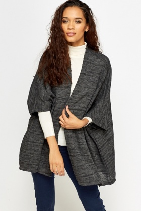 Open Grey Knitted Cardigan